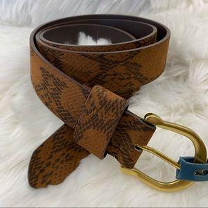 Universal Thread Brown Snakeskin Horseshoe Belt